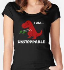 Dinosaur ,I Am Unstoppable fun Women's Fitted Scoop T-Shirt