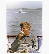 JFK Eating Ice Cream Poster