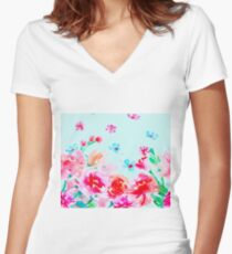 Pastel cyan - peony roses Women's Fitted V-Neck T-Shirt