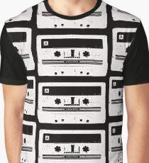 Cassette Tape Pattern Black Graphic T-Shirt