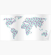 World Map Chocolate Planet Poster
