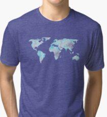 World Map Ocean Blue Watercolor Tri-blend T-Shirt