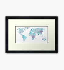 World Map Ocean Blue Watercolor Framed Print