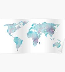 World Map Ocean Blue Watercolor Poster