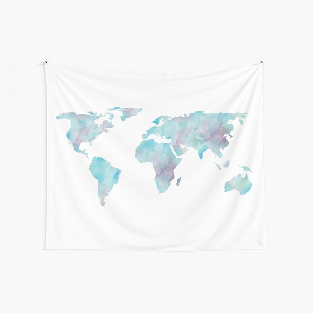 Weltkarte-Ozean-Blau-Aquarell Wandbehang