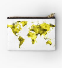 World Map Vivid Yellow Watercolor Studio Pouch