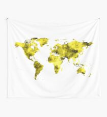 World Map Vivid Yellow Watercolor Wall Tapestry