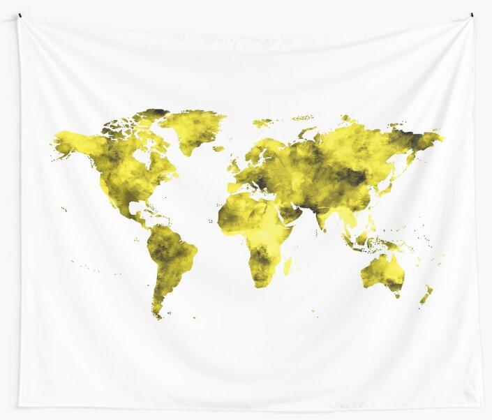 World Map Vivid Yellow Watercolor by naturemagick