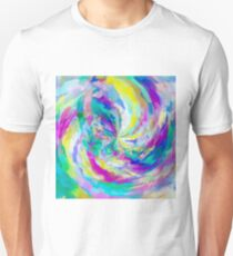 colorful splash painting abstract in pink green blue yellow Unisex T-Shirt