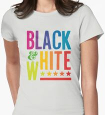 Colorful Black & White Womens Fitted T-Shirt
