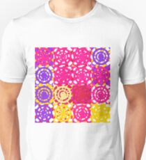 graffiti circle pattern abstract in pink yellow and purple Unisex T-Shirt