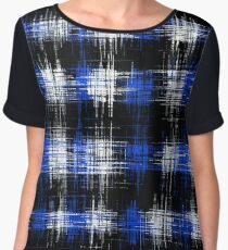 plaid pattern painting texture abstract in blue and black Chiffon Top
