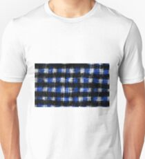 plaid pattern painting texture abstract in blue and black Unisex T-Shirt
