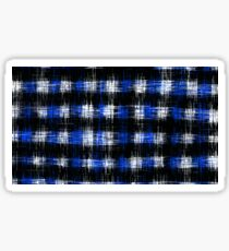 plaid pattern painting texture abstract in blue and black Sticker
