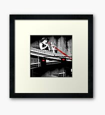 Stop The Freeway Overpass Scales Madness! Framed Print