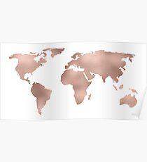 Weltkarte Rose Gold Shimmer Poster
