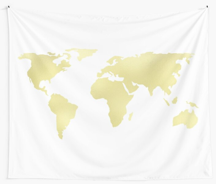 World map yellow gold shimmery wall tapestries by naturemagick world map yellow gold shimmery by naturemagick gumiabroncs Images
