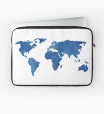 Map - Blue World Map Watercolor Laptop Sleeve