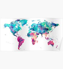 World Map Turquoise Pink Blue Green Poster
