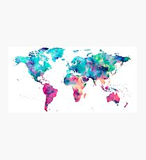 World Map Turquoise Pink Blue Green Photographic Print