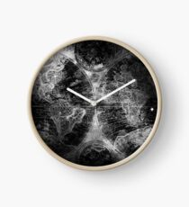 Antique Map Space Stars Black and White Clock