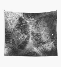 Antique Map Space Stars Black and White Wall Tapestry