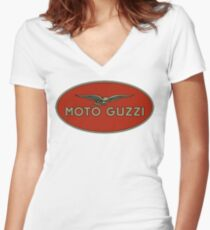 Moto Guzzi Retro Logo Women's Fitted V-Neck T-Shirt