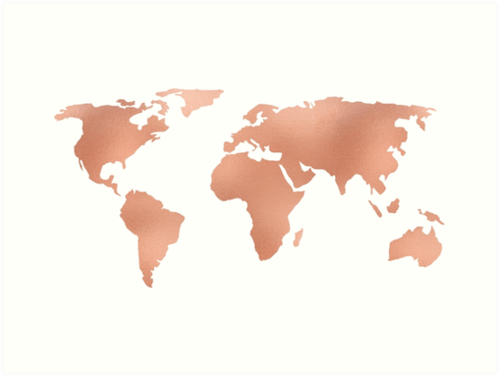 World map rose gold bronze copper metallic art prints by world map rose gold bronze copper metallic by naturemagick gumiabroncs Images