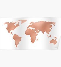 World Map Rose Gold Bronze Copper Metallic Poster