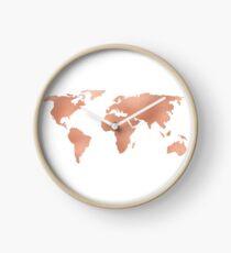 World Map Rose Gold Bronze Copper Metallic Clock