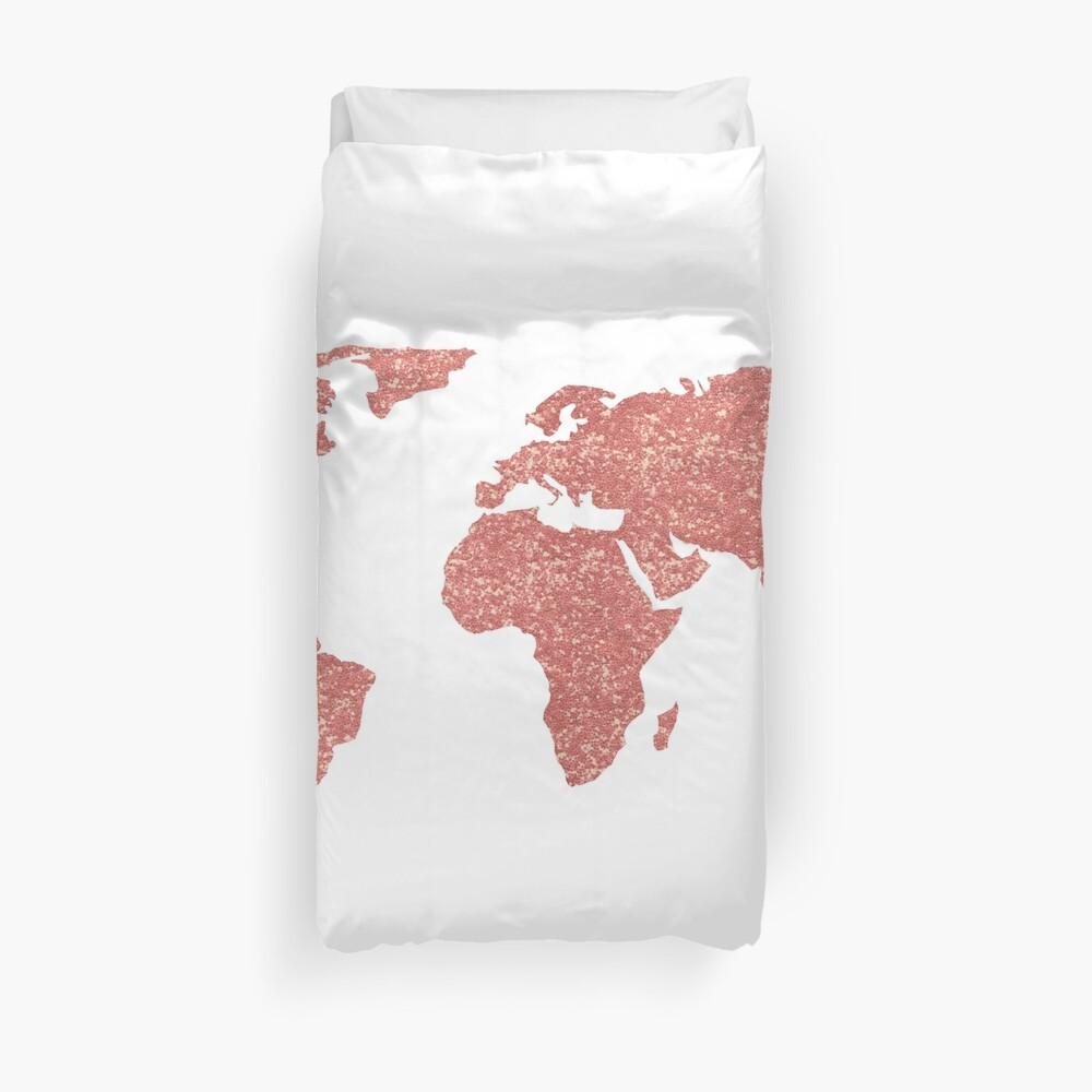 Weltkarte Rose Gold Glitter Bettbezug