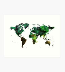 World Map Green Earth Painting Art Print