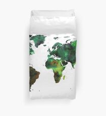 World Map Green Earth Painting Duvet Cover