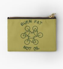 Burn Fat Not Oil Recycle Code Parody Green Graphic Studio Pouch