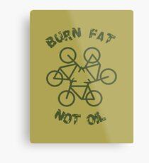 Burn Fat Not Oil Recycle Code Parody Green Graphic Metal Print