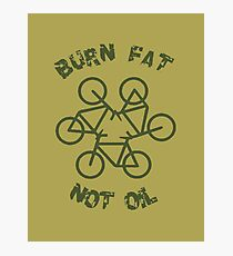 Burn Fat Not Oil Recycle Code Parody Green Graphic Photographic Print