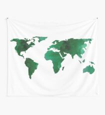 World Map Vibrant Green Earth Wall Tapestry
