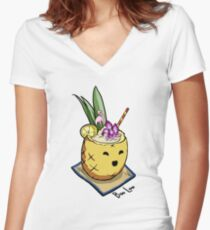Boo Loo Pineapple Women's Fitted V-Neck T-Shirt