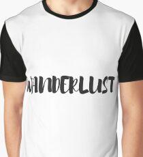 Black and White Typography Wanderlust Word Art Graphic T-Shirt