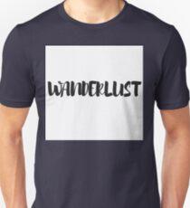 Black and White Typography Wanderlust Word Art Unisex T-Shirt