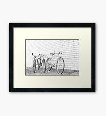 Three Vintage Bicycles. Framed Print