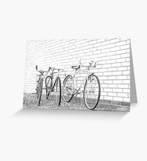 Three Vintage Bicycles. Greeting Card