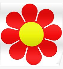 Red Yellow Hippy Flower Daisy Poster
