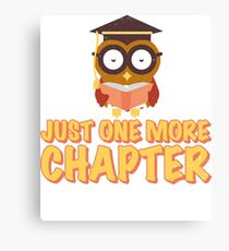 Just One More Chapter Wise Owl Reading A Book Canvas Print
