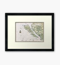 Old Map Of California Island Framed Print