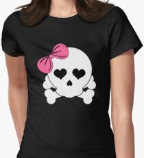 Girly Skull with Pink Bow T-Shirt