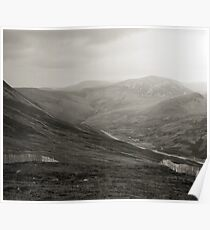 Glenshee ski-run and mountains Poster