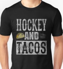 Hockey and Tacos Funny Taco Distressed T-Shirt