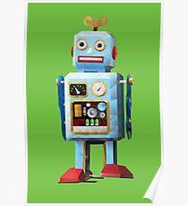 Retro Tin Toy Robot Polygon Art Poster