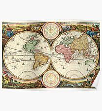 Vintage Maps Of The World. 1730 Stoopendaal Map of the World in two Hemispheres Poster